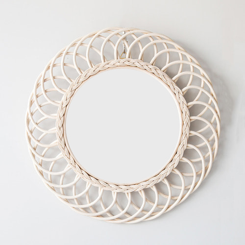 ヨン家具 韓国家具 お洒落インテリア 可愛い鏡 壁掛け鏡 ラタン ミラー